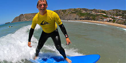 Learn to surf, surf holiday, Algarve,  surf camp, Portugal, ocean sunset